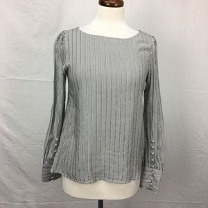 Express Grey/White Striped Puff Sleeve Top